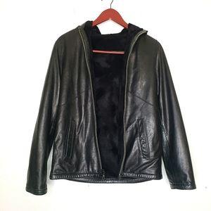 Vakko black leather hooded jacket XS